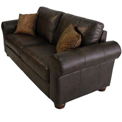 Olga Chocolate Brown Renu Leather Rolled Arm Sofa