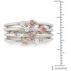 14k White Gold 1/2ct TDW Pink/ White Diamond Ring (H, SI) (Size 6.75)