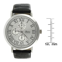 Geneva Platinum Men's Faux Leather Strap Watch