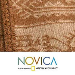 'Paracas Cinnamon' Alpaca Wool Throw Blanket (Peru)