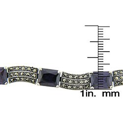 Dolce Giavonna Sterling Silver Marcasite Purple Stone Bracelet