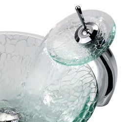 Kraus Broken Glass Vessel Sink and Waterfall Faucet