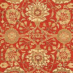 Sarouk Hand-knotted Red/ Green Wool Rug (8' x 10')