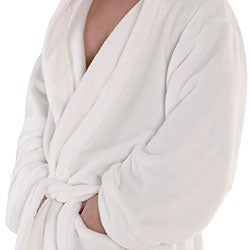 Alexander Del Rossa Men's Fleece Hooded Bathrobe