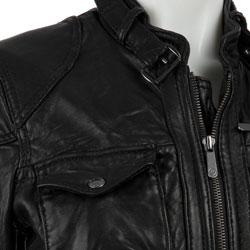 MICHAEL Michael Kors Women's Black Leather 4-pocket Motocross Jacket