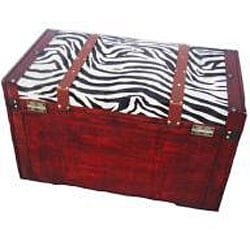 Phat Tommy Zebra Decorative Wooden Storage Trunk