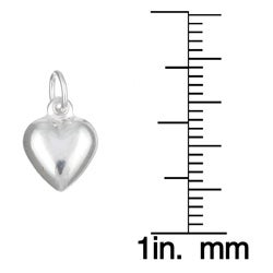 Sterling Essentials Sterling Silver Puffed Heart Charms (Set of 12)