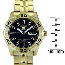Seiko Men's Automatic 5 Sport Black Dial Stainless Steel Watch