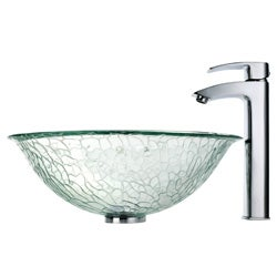Kraus Broken Glass Vessel Sink and Visio Faucet