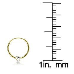 Icz Stonez 10k Yellow Gold Mini Cubic Zirconia Endless Hoop Earrings