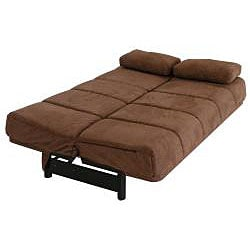 Ava Armless Pocket Coil Dark Brown Microfiber Sleeper Sofa Futon Overstock