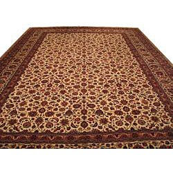 Hand-knotted Beige Wool Rug (13' x 19')