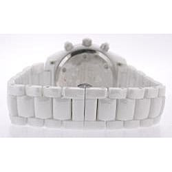 Le Chateau Men's 'Bello' Zirconia Silvertone White Ceramic Watch
