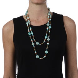 Miadora New York Pearls Multi-colored Pearl and New York Pearls Multi-gemstone 58-inch Necklace