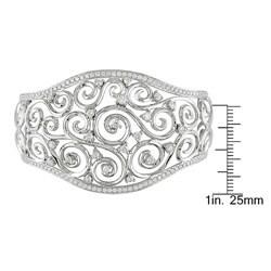 Miadora 18k White Gold 2 1/2ct TDW Diamond Cuff Bracelet (G-H, SI2)