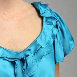 Allura Women's Turquoise Ruffle-beck Blouse