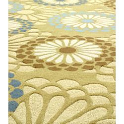 Handmade Aurora Blossom Light Green Wool Rug (4' x 6')