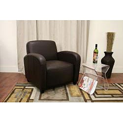 Parish Brown Bi-cast Leather Contemporary Club Chair