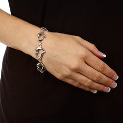 Silvertone 'Continuous Heart' Toggle Bracelet