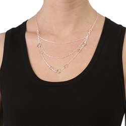 Dolce Giavonna Sterling Silver 18-inch 3-tier Geometric Trend Necklace (1 mm)