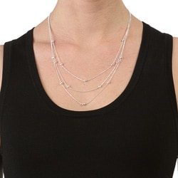 Dolce Giavonna Sterling Silver 20-inch 3-strand Disco Ball Necklace (1 mm)