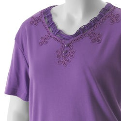 Nicole Ricci Women's Plus-Size Embellished V-Neck Top