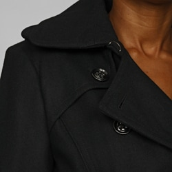 London Fog Women's Double-breasted Wool Blend Trench Coat