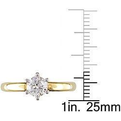 Miadora 18k Gold 1ct TDW Diamond Solitaire Engagement Ring (H-I, I1-I2)