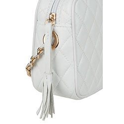 Made in Italy Patent Leather White Quilted Leather Shoulder Bag