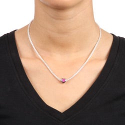 Sterling Essentials Sterling Silver 16-inch Pink Enamel Heart Bead Necklace