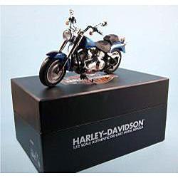 Harley Davidson Fat Boy Black/ Blue Ice Die Cast Motorcycle