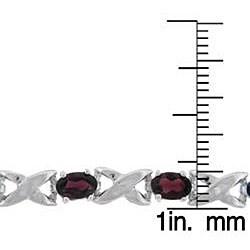 Dolce Giavonna Sterling Silver Garnet 'X and O' Bracelet
