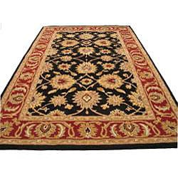 Hand-tufted Raja Black Wool Rug (5' x 8')