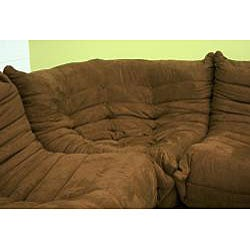 Microfiber Brown 5-piece Living Room Set