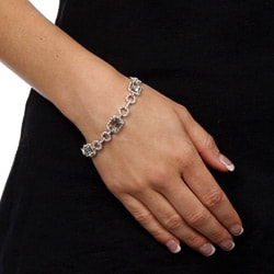 Dolce Giavonna Sterling Silver Green Amethyst and Diamond Accent Link Bracelet