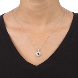 14k White Gold Sapphire and 1/6ct TDW Diamond Necklace (H-I, I1-I2)