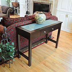 Bay Shore Rubberwood Glass-top Sofa/ Console Table