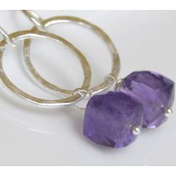Sterling and Fine Silver Amethyst Earrings