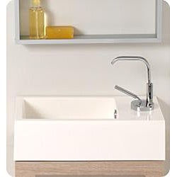 Fresca Pulito Light Oak and Stainless Steel Vanity and Mirror Set