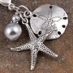 Fashion Forward Silver Starfish and Sand Dollar Crystal Charm
