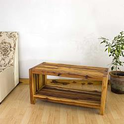 Hand-carved Teak Slat Coffee Table (Thailand)