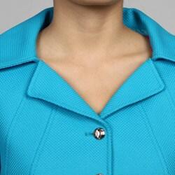 Tahari ASL Women's 4-button Turquoise Skirt Suit