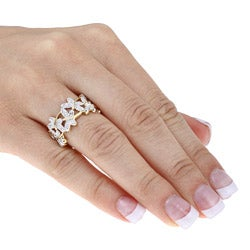 18k Gold over Sterling Silver Diamond Accent Butterfly Ring