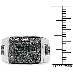 Malaika Sterling Silver 1/2ct TDW Blue Diamond Fashion Ring