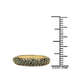 Malaika 14k Yellow Gold Over Silver 5/8ct TDW Blue Diamond Ring