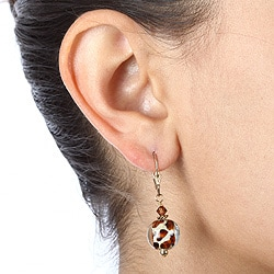 Charming Life Goldfill Art Glass Animal Print Earrings