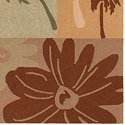 Hand-hooked Springtime Brown Indoor/Outdoor Botanical Rug (9'x12')