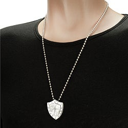 West Coast Jewelry Stainless Steel Center Cross and Shield Necklace