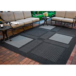 Indoor/ Outdoor Lakeview Black/ Sand Rug (9' x 12')