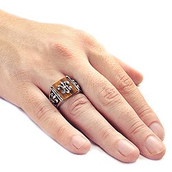 West Coast Jewelry Stainless Steel Men's Tiger's Eye Fleur De Lis Ring